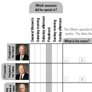 Worksheet for general conference notes